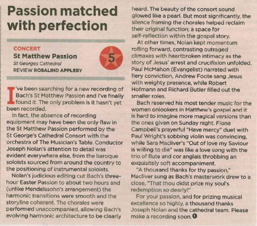 St Matthew Passion - Review from West Australian