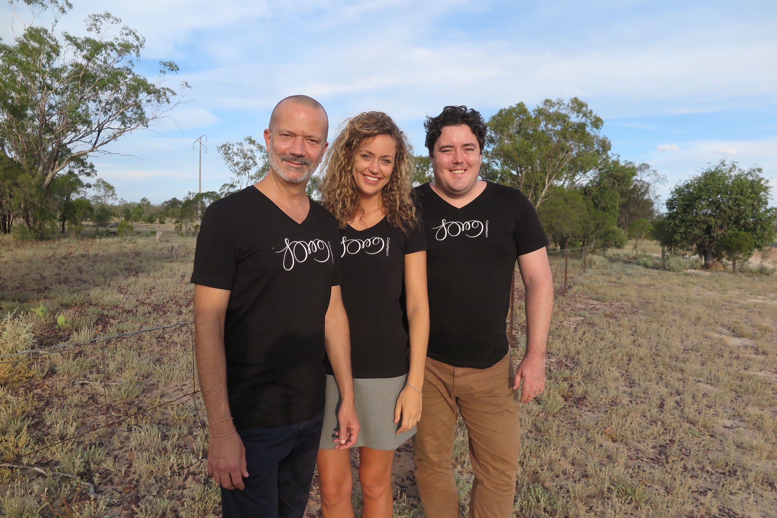 Mark Donnelly, Hannah Fraser, and Andrew O'Connor on the road with Song Company just outside Lightning Ridge.