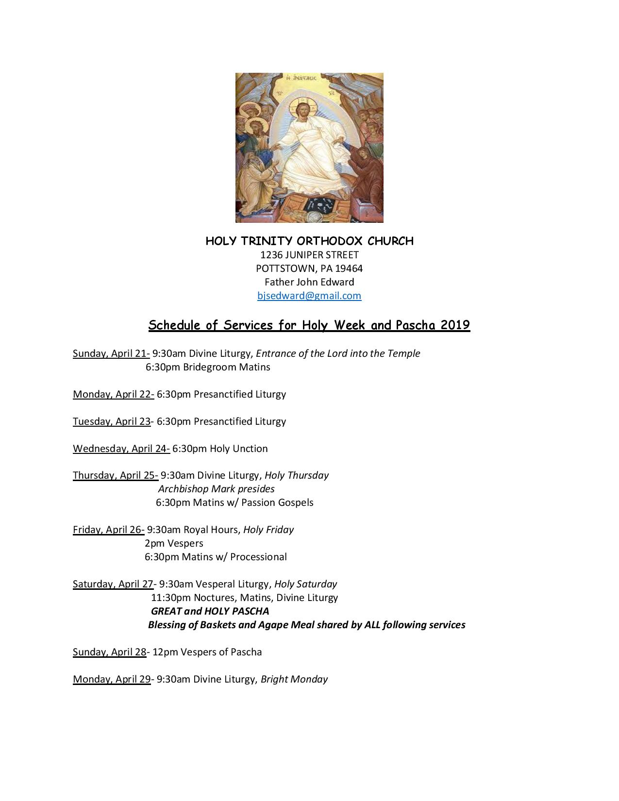 Holy Week 2019 Schedule — Holy Trinity Orthodox Church