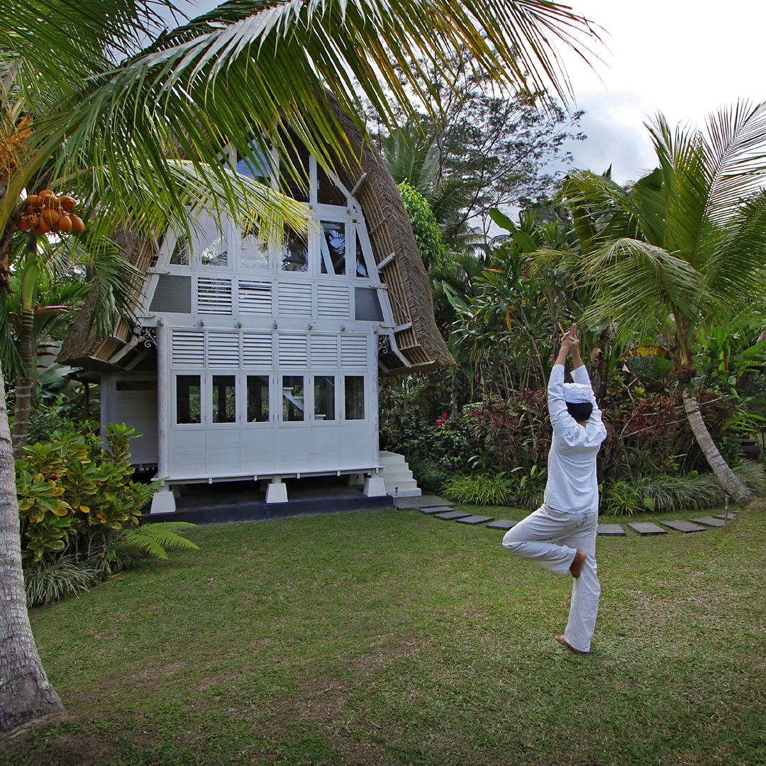 Yoga in the gardens of Villa Jendela di Bali near Ubud, Bali