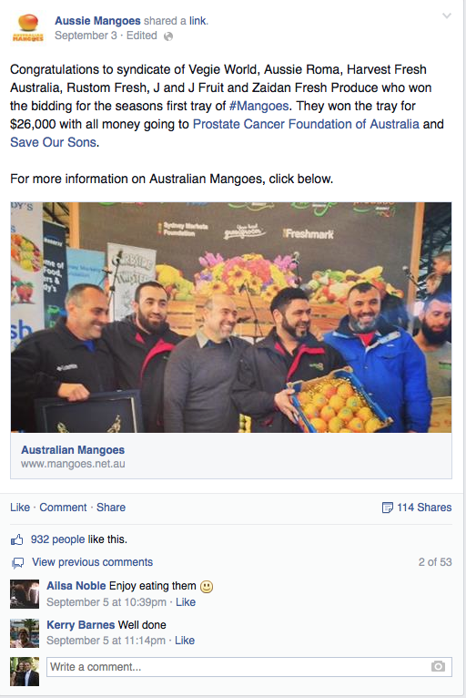 The Aussie Mangoes Facebook Auction Winners post received 929 likes, 114 shares and 53 comments