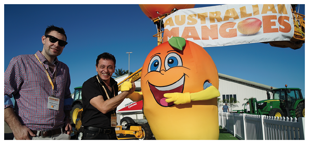 Mango mascot, Kenny, welcomes conference delegates to Bowen at the 11th Australian Mango Conference.