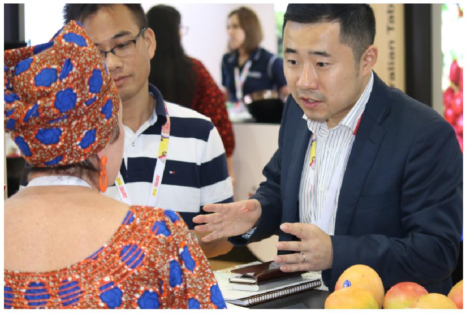 Treena Welch, Australian Mangoes Marketing Manager, promoting Australian mangoes at Asia Fruit Logistica last year.