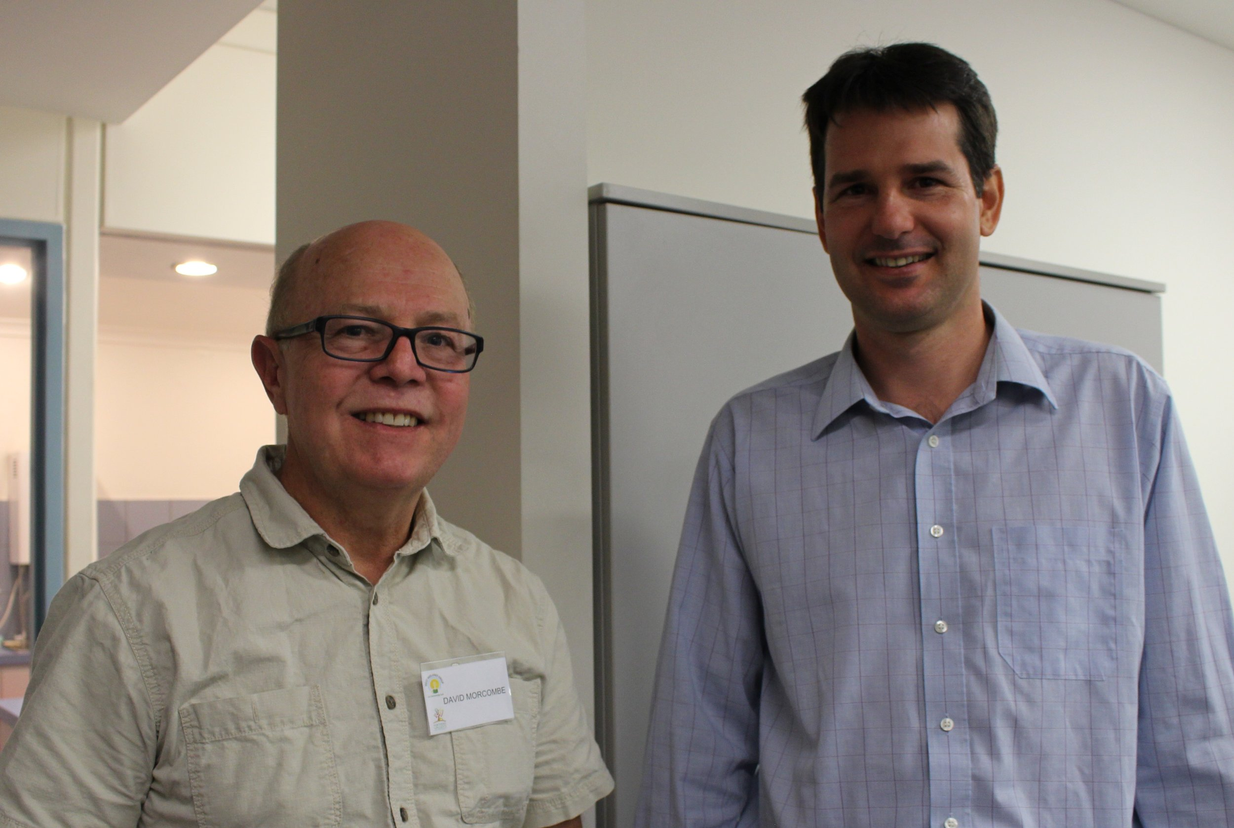 David Mocombe, mango grower and Brett Heather, freshh food expert.JPG