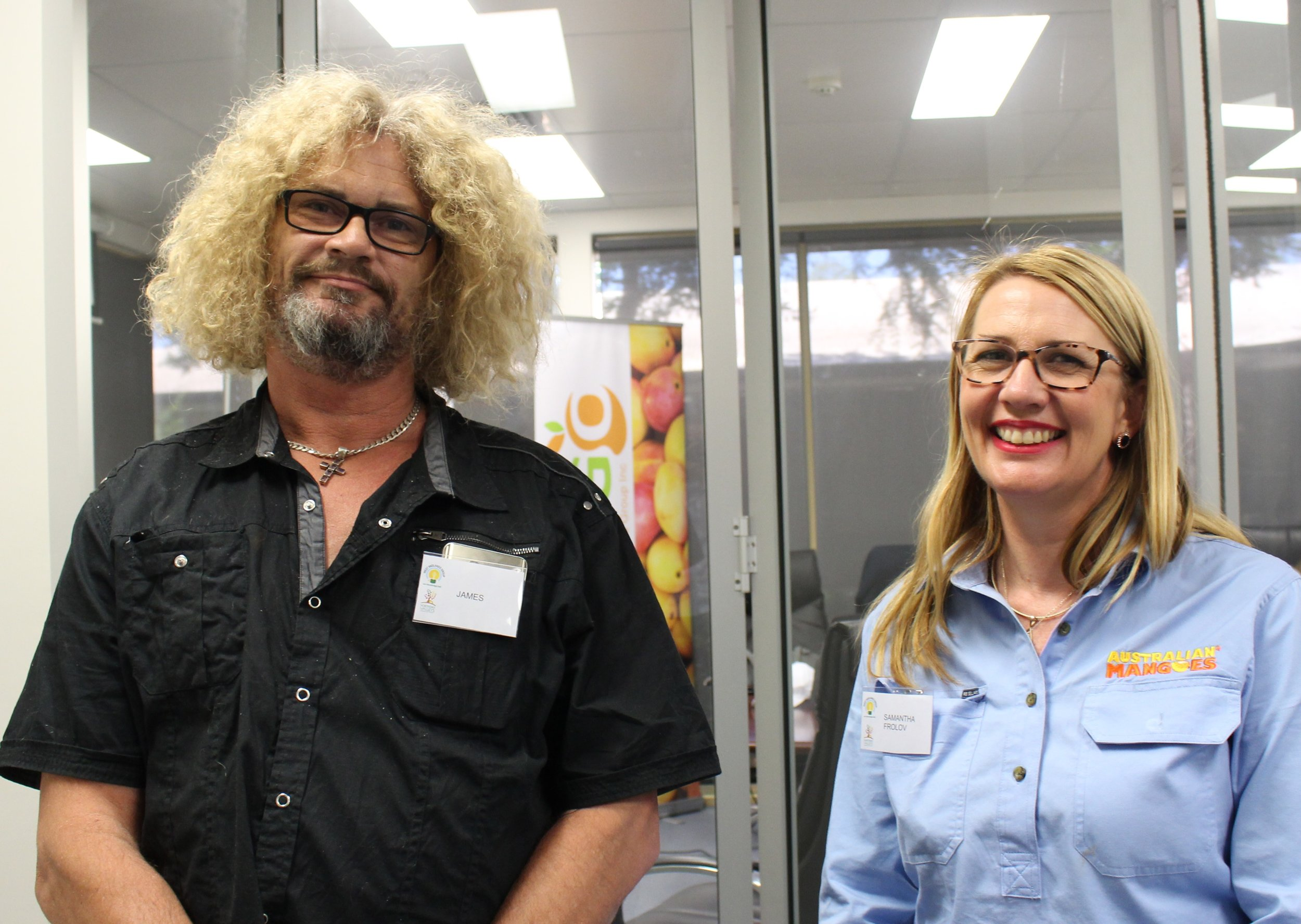 James, mango grower and Samantha Frolov, Industry Development Manager of AMIA.JPG