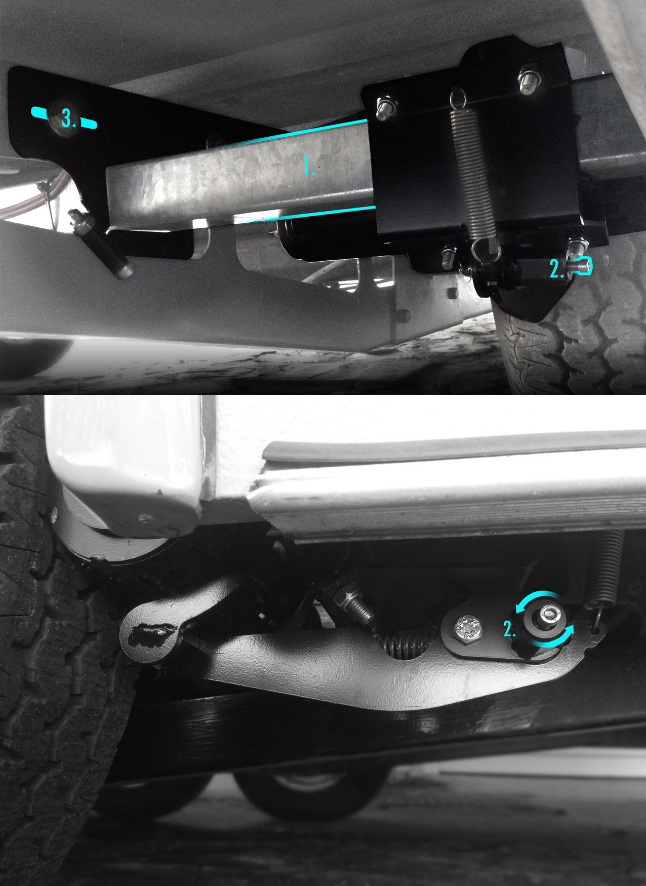 Click to enlarge. Standard unit.  1. Drive beam mounted onto chassis  2. Actuator nut  3.Bracket Adjustments