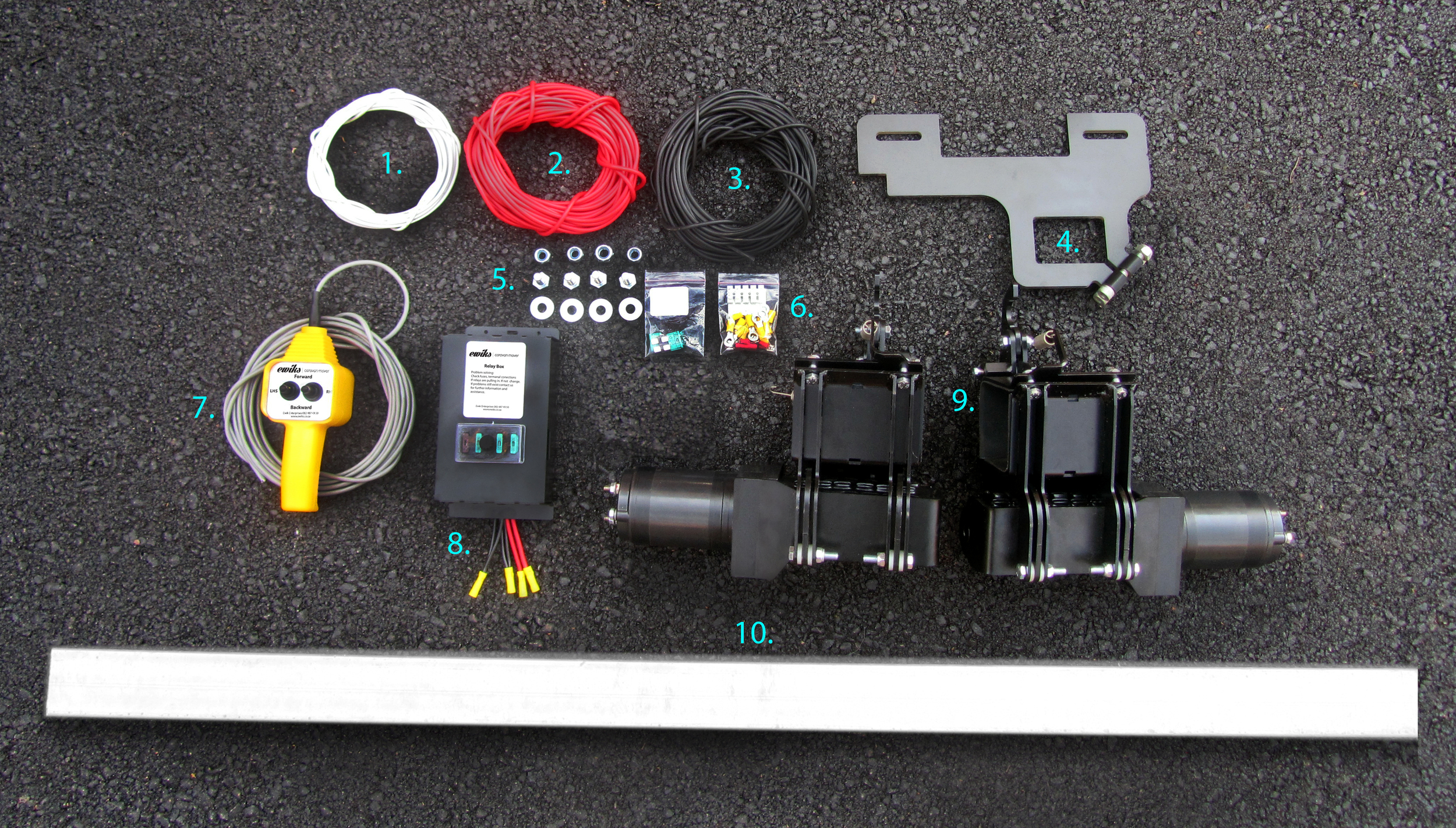 Typical DIY Kit:   (Click to enlarge)  1. Control wire (6 core)  2. and 3. Panel Wire (4mm)  4. Hanger brackets  5. Nuts, bolts and washers  6. Terminals, conector stip and spare fuses.  7. Control pendant (5m trailing cable)  8. Relay Box / Fuse Box  9. Motor gearbox assembles  10. Mounting tube