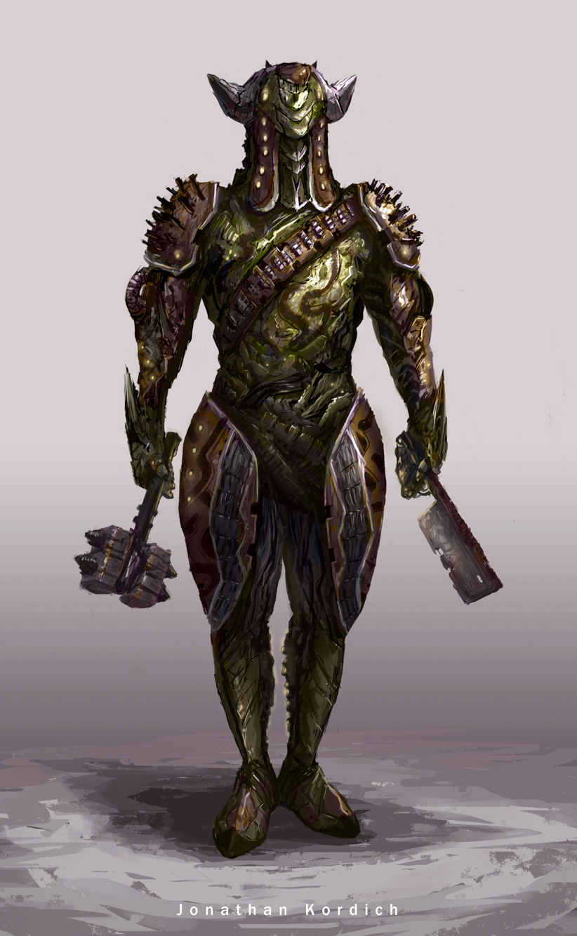 Futuristic warrior stands ready with a warhammer in one hand and a battleaxe in the other. Fan concept of a Loki Warframe built by the Grineer.