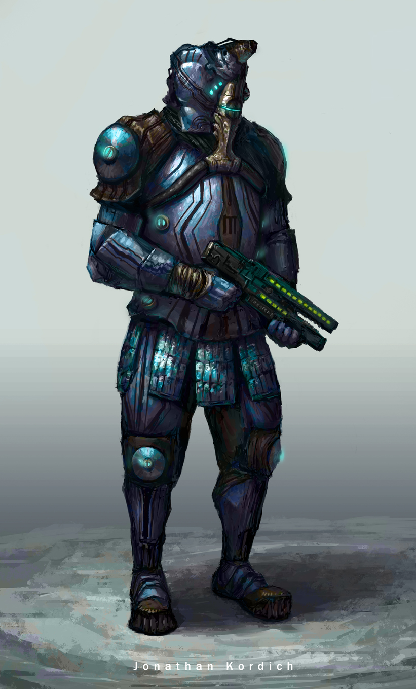 Man inside of a futuristic space suit holds a laser rifle as different parts of his outfit glow a blue neon light. Fan concept of a Vauban styled like the Vandal weapon series (holding a Dera rifle).