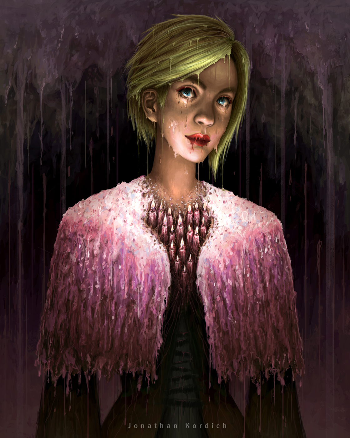 Blonde female with a cape made entirely of melted candle wax stands in the center. Upon further investigation it is noticeable that she herself is also melting: her eyes, lips, and jaw begin to drip.