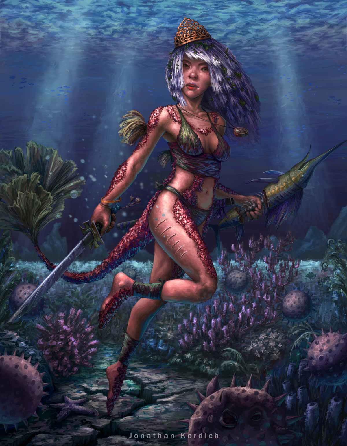 Nereid wears a crown while holding a katana in one hand and a makeshift swordfish in the other.