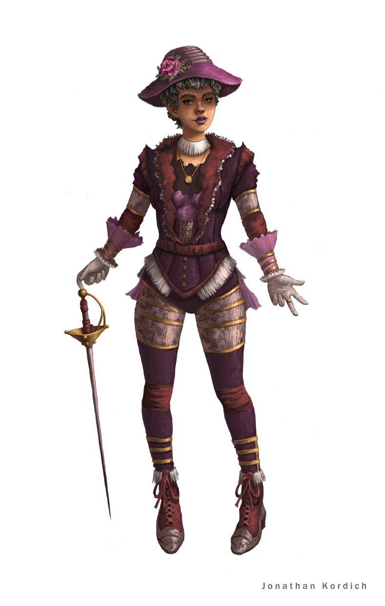 Woman wearing intricate Victorian attire that is complimented by battle ready light armor. She spins her fencing sword at her fingertips as she allows her sass to take over and intimidate.