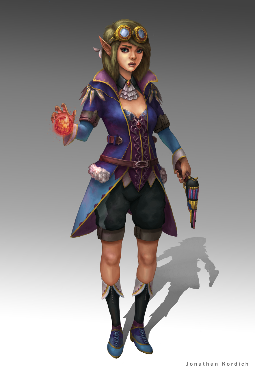 Fan concept of a mashup between Fryevia and Olive from Final Fantasy: Brave Exvius. A lone duelist with a single revolver in hand and the power to imbue fire. As a gun mage, she excels in scanning enemies, and can grant abilities that allow the party to exploit weaknesses for several turns. Her hybrid attacks can mimic allies' abilities at the cost of short cooldowns and limit burst crystals.
