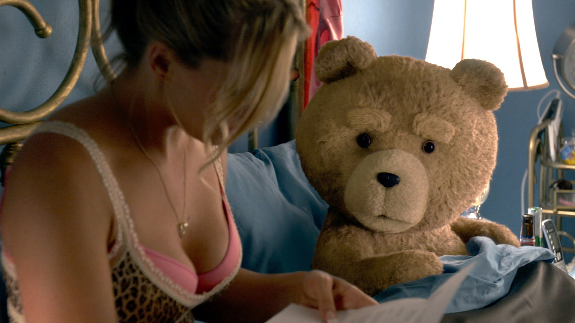 Ted 2  (2015): Jessica Barth with an exemplar of Seth MacFarlane characters.