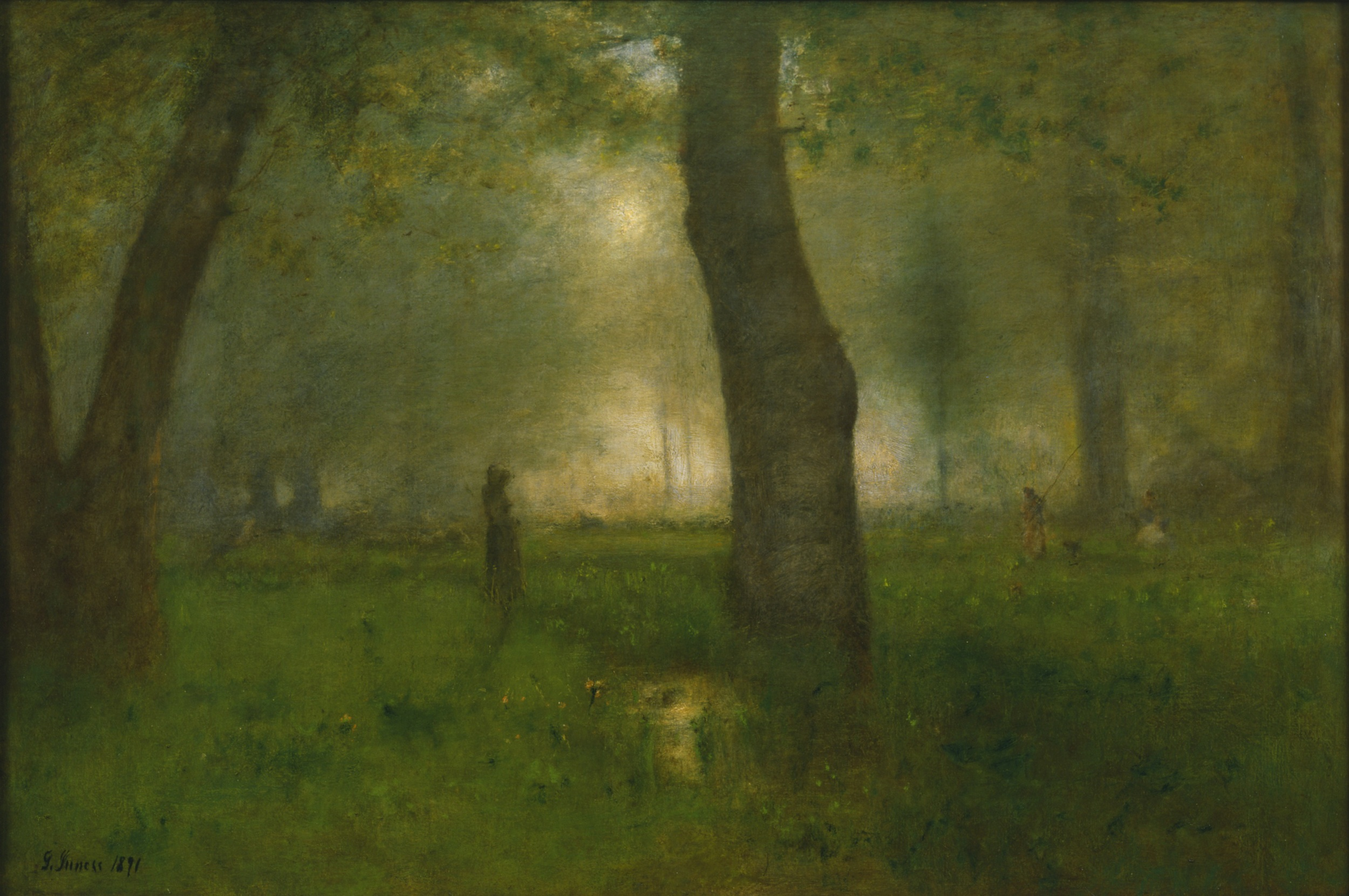 """The Trout Brook,"" by George Inness. Oil on canvas, 30 1/2 by 45 1/4 inches, The Newark Museum, New Jersey. 1891"