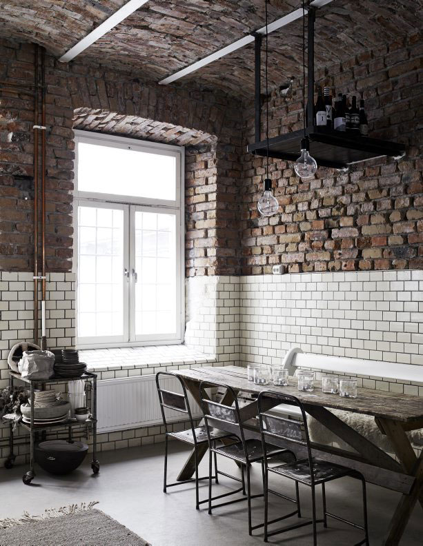 Check out the subway tiles with the brick! So cool and original!