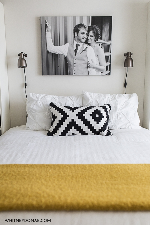I love this pop of color that this yellow throw adds to our room.
