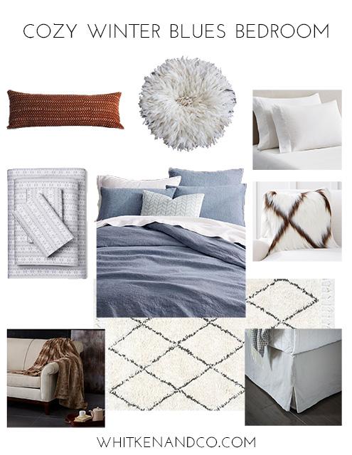 Cozy Winter Blues Bedroom Mood Board - Whitken & Co.