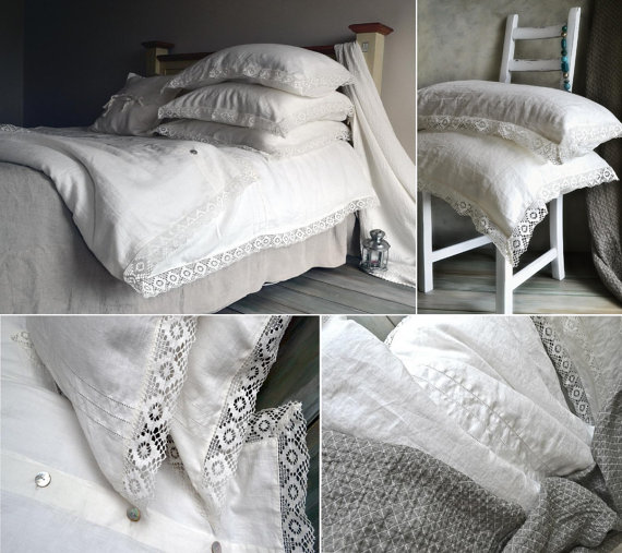 Antique White Linen Bedding