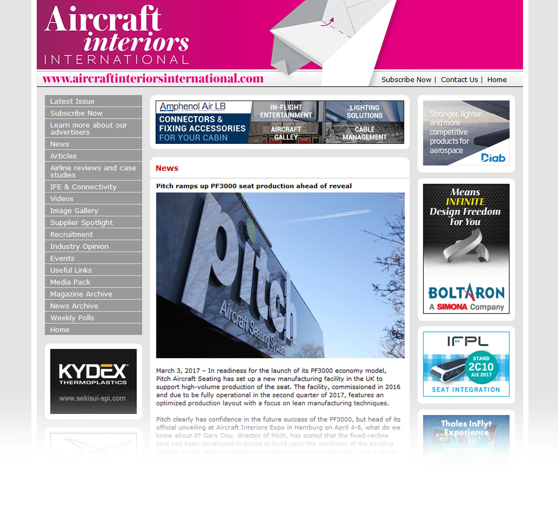 Aircraft Interiors article