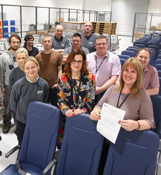 The PITCH team proudly show their EASA ETSO certificate for the PF3000 seat. The C127b (16g) certification allows PITCH to install the seats in high density configurations with full HIC compliance