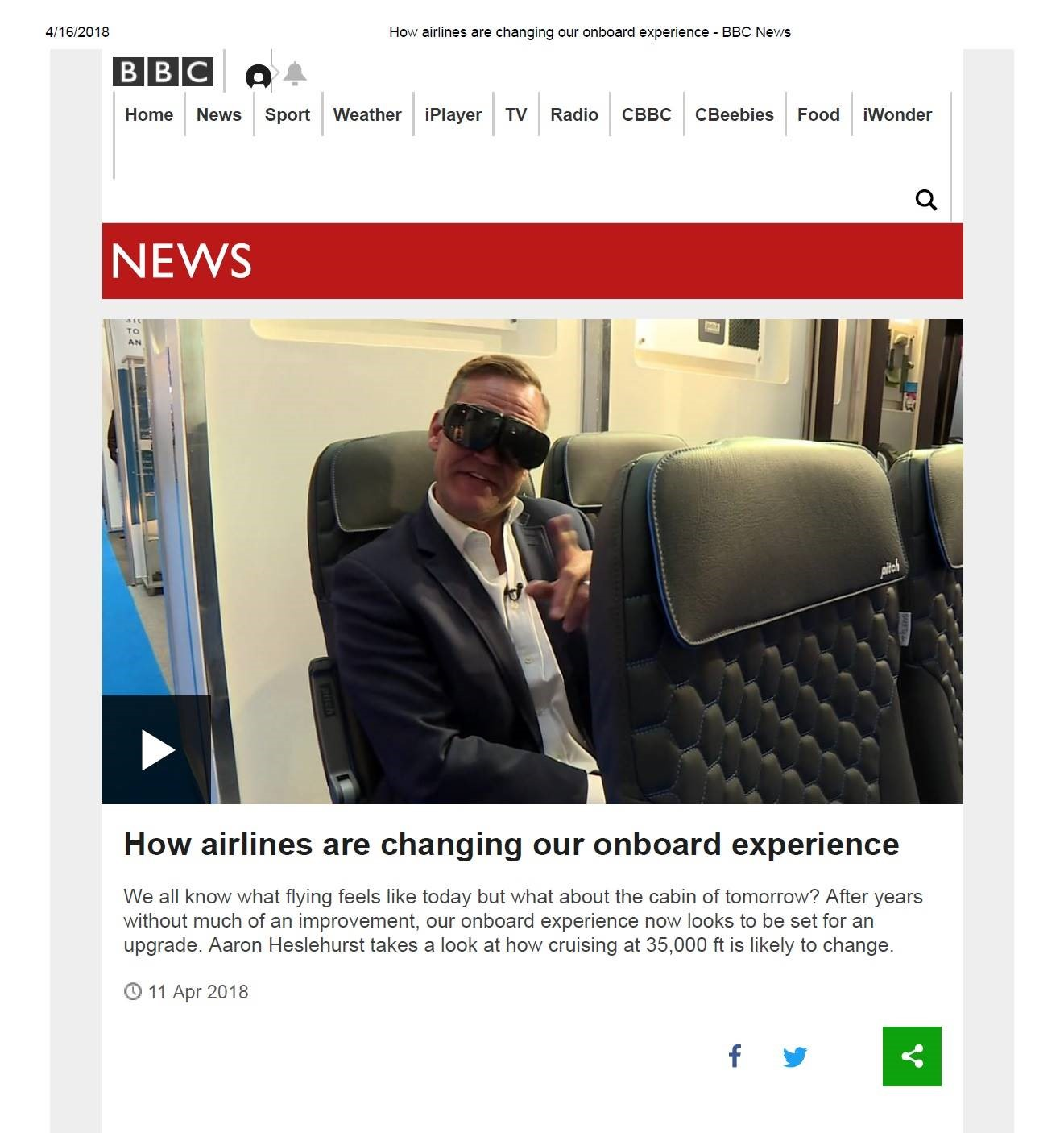 """Aaron dropped by the PITCH stand in Hamburg as part of his tour in the """"virtual world"""" of aircraft travel. PITCH has been at the forefront of this rapidly evolving technology presenting full cabin interiors to customers before they take delivery of our seats."""