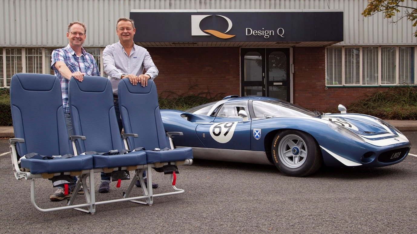 Gary Doy (Pitch CEO) and Howard Guy (Design Q CEO) with the Pitch PF3000 seat and the Ecurie Ecosse LM69. Their UK based design studio has a long history in Aviation and Automotive design.