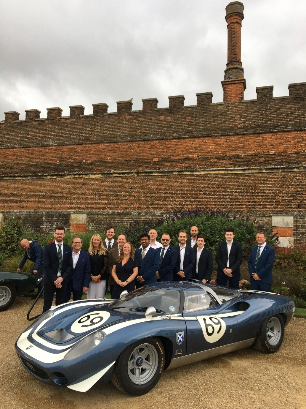 Design Q team at the Ecurie Ecosse LM69 Launch, Hampton Court Palace.