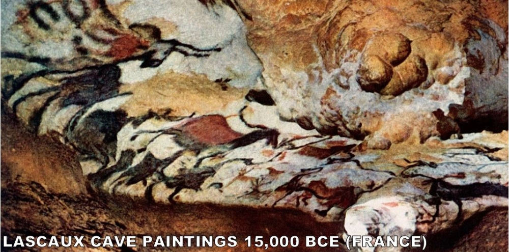 Found in 1940 by 18-year-old Marcel Ravidat by accident, these 2,000 figures were painted on the walls 17,300 years ago. Most of the images are animals and most of those are horses. Fossil evidence from the time show that these animals actally existed in this region at this time. It is easily the most well known Paleolithic Art of all time.
