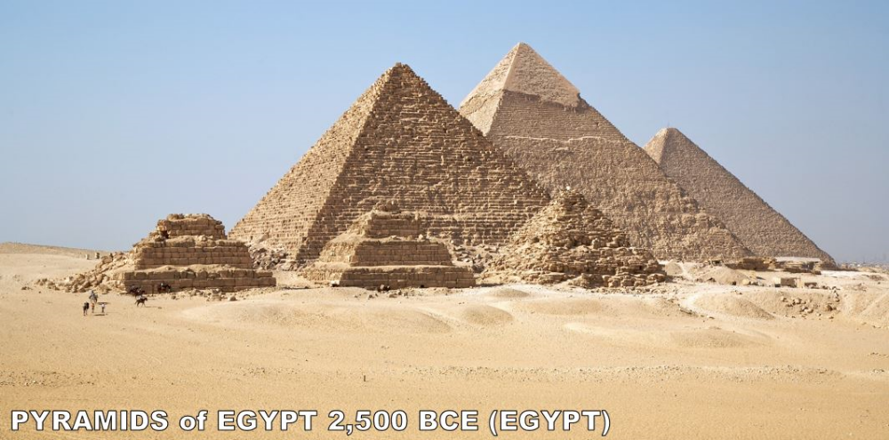 Look at these things... The last of the Great Wonders of the World to still exist, the Pyramids of Egypt may be the most iconic architecture on earth. That big one in the middle (Khufu) is not only the oldest of the big three, but it was also the tallest man made structure on earth for 3,800 years (until several European Cathedrals surpassed it). Pyramids were used as tombs for Egyptian Pharaohs and are the most recognizable monolithic architecture in the world.
