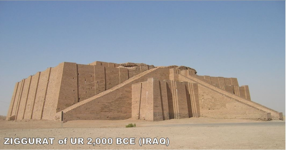 Ziggurats are awesome. This is what's left of the Ziggurat of Ur. It's just the base, so people have speculated that there was more here. It was built by the Sumerians for their moon god (which was the patron god of Ur).