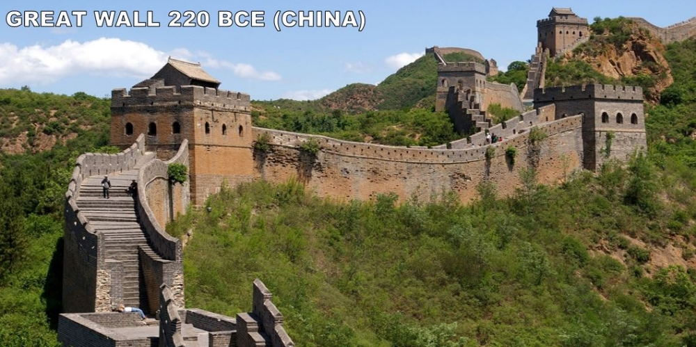 There had been walls in China for a while. They were only average walls. With their powers combined under the reign of Qin Shi Huangdi, they became the Great Wall. A theme of Chinese history that you should pick up on this year is that people from the North are constantly trying (and often succeeding) to invade China. The Wall as you know it today wasn't finished until much later (Ming Dynasty). Also, you can't see it from space. But, it's still pretty great. 13,000 miles great. It would take you 10 days to drive the length of this thing (going 60 mph with no stops...) It could replace both the US-Mexico border and the US-Canada border... twice. Sadly, around 300,000 people died in the construction of the wall.... many of which were buried within the wall!