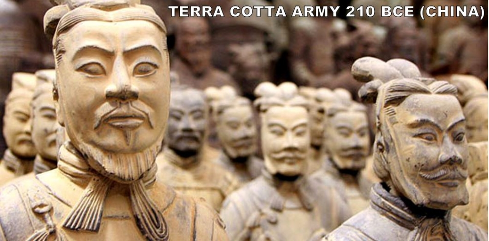 Ok. So, Qing Shi Huangdi will be the only guy to make the ART TO KNOW list twice. But, when you have the power of ALL OF CHINA behind you for the first time in history.... you can get stuff done. The Terra Cotta army is one of the most colossal wastes of time and energy ever. Qin Shi Huangdi had them constructed to defend him in the afterlife (watch me die and then be confronted by the afterlife's true ruler, Qin Shi Huangdi and his massive army). The best part of this story is that no one knew these fellas existed until 1974... Like our Lascaux Cave Paintings, these guys were discovered by accident. Some farmers were trying to dig a well. They kept finding these fragments of sculpture. These fragments were just the tip of the Terra Cotta Iceberg. I'm talking 8,000 soldiers, 130 chariots, 520 horses; most of which are still buried. They won't let you walk through the pits (they let Queen Elizabeth II, but she also got to sit on the Iron in Westeros... It's good to be the Queen).