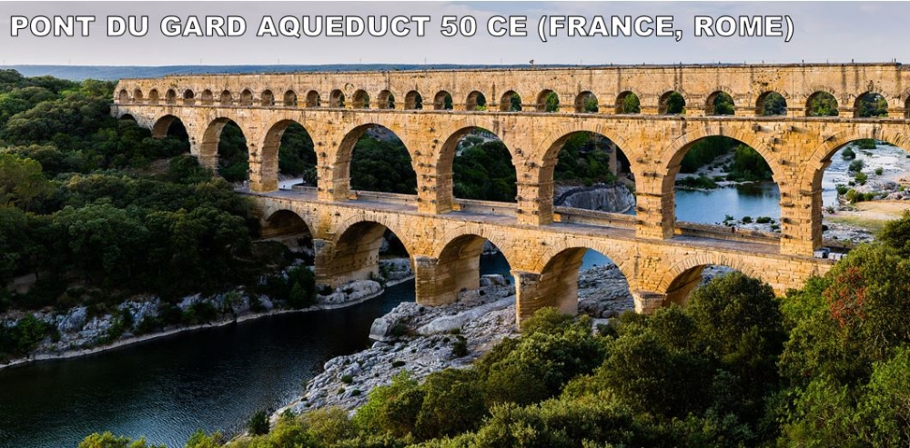 "This may surprise you, but Romans often thought they were the best thing to ever happen.  They liked to mock the Ziggurats and Pyramids for serving no purpose.  Enter the Aqueduct.  Aqueducts carry water from fresh springs to areas without water.  This one is in France.  It is the highest and one of the best preserved.  I'm amazed living in the Southern US and seeing Civil War battlefields.  I think to myself, ""Wow. This is so historic.""  This is about 2,000 years older.  Amazing. After Rome fell, you would think that this would have been taken apart to build huts (or some other medieval junk).  But, after the mineral deposits caused it to no longer carry water, it became a toll bridge.  Talk about a demotion. ROMAN USE: Water to fountains, baths, homes, farms.  MEDIEVAL USE: We can walk on it.  This is still one of France's biggest tourist attractions."