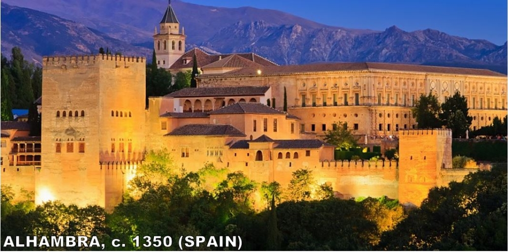 """Alhambra (""""The Red One"""") is the most famous piece of Islamic architecture in Spain. It's a palace complex built by the last Islamic dynasty to rule Spain (Nasrid Dynasty 1232-1492). Even Charles V (One of Europe's most powerful people in the next era) built his offices within A beg Lhambra. It actually fell into disrepair before being rebuilt in the 19th Century. Today, it is one of Spain's biggest tourist attractions."""