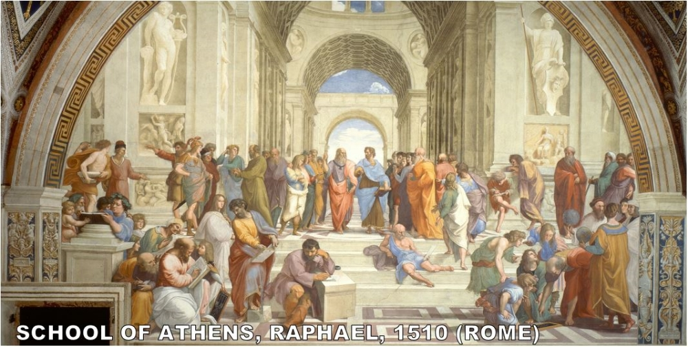 There is nothing more renaissance than Raphael's school of Athens. This is a painting of Classical era figures painted by an Italian during the Renaissance. It's almost redundant.  Here's  a key to who is who in this painting. The central figures are Plato and Aristotle. My favorite part? Raphael painted himself into the painting! Hes in the red robe in the upper right.