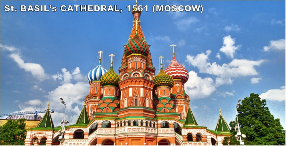 """This colorful building looks completely out of place in Moscow, Russia (not exactly Disneyland). Plus, this beautiful building was ordered to be built by a guy named Ivan the Terrible! So, the background may not be what you think. The most common question about this cathedral is, """"Didn't they blind the dude that built this so that he could never recreate its beauty?"""" No one knows for sure but the architect kept designing and building for another 10 years. So, if they did blind him; they did a terrible job."""