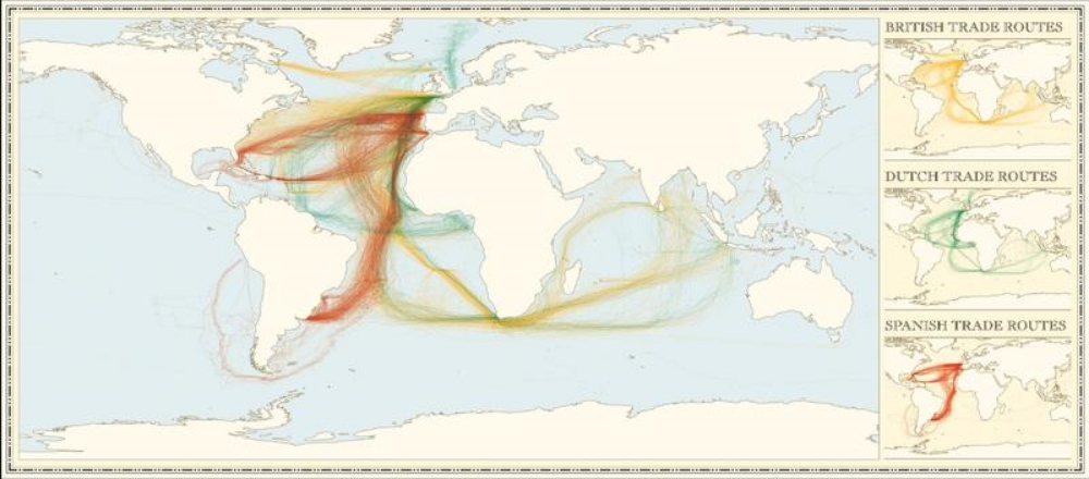 This map shows British, Dutch and Spanish shipping routes from 1750 to 1800. It's been created from newly digitized logbooks of European ships during this period. (Unfortunately, the French data is not shown.) These lines are the contours of empire and of European colonialism, yes, but they're also the first intimations of the global trade and transportation system that are still with us today. This was the flattening of the world, for better and for worse.