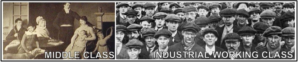 A. New social classes, including the  middle class and the  industrial working class , developed.