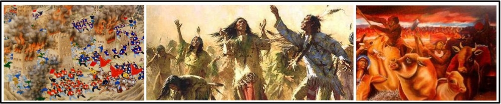 E. Some of the  rebellions were influenced by diverse religious ideas  ( Taiping Rebellion , The Ghost Dance , The Xhosa Cattle Killing Movement )
