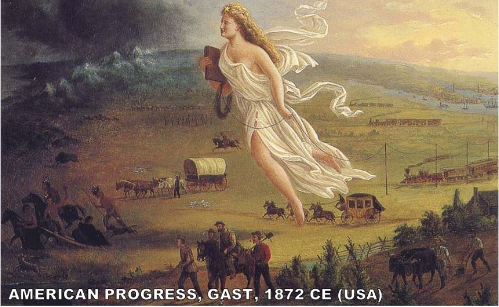 """Next year, you're going to hear a lot more about American History. But, Manifest Destiny is brought up in AP World History in this era. This painting was commissioned by a publisher of Western Travel Guides. I was shocked to find out that this painting, like the Mona Lisa, is actually pretty small. It's only 12""""x 16"""". It's pretty literal. People are heading west. Notice how the Native Americans precede the settlers. Also, you can see they are followed by the railroads."""