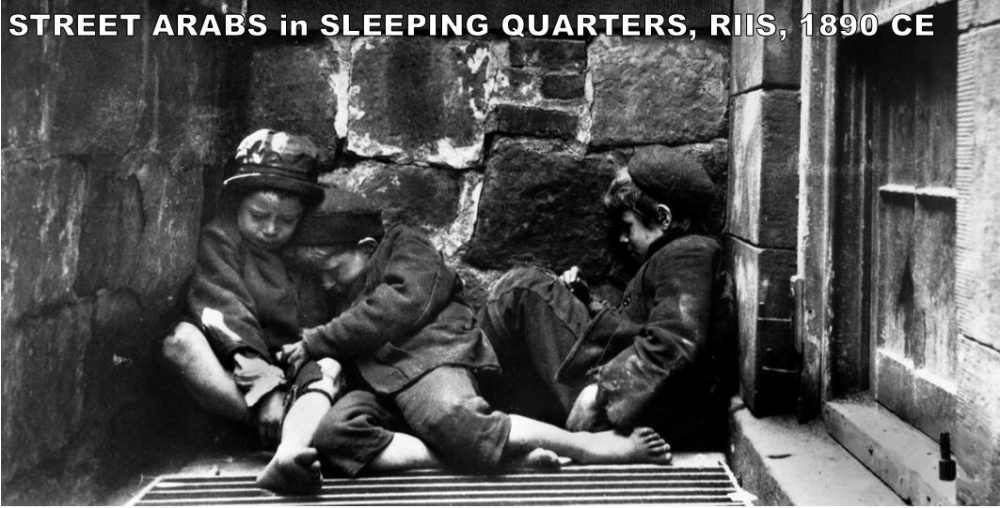 """This photo was taken in New York City by Jacob Riis. This was one of many photos Riis used for his work,  How the Other Half Lives . The book highlighted the immigrants living in tenement housing in the 1880s. Photos like this were used to show the upper classes what life was like for the poor in New York City. The title """"Street Arabs"""" refers to the nomadic nature of these children. Initially banned due to their graphic nature, Riis' book helped lead to reforms in the tenement housing/sweashops of New York City."""