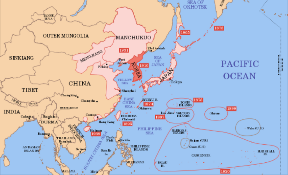 (Note the dates on this one... Not every map fits our 1750-1900 era. For Japan it's mainly the islands around Japan that they had taken over, but in the first decade of the next era thay had alreay taken part of Russia, and all of Korea.)