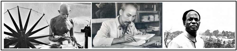 A. Nationalist leaders ( Mohandas Gandhi , Ho Chi Minh , Kwame Nkrumah ) in Asia and Africa challenged imperial rule.