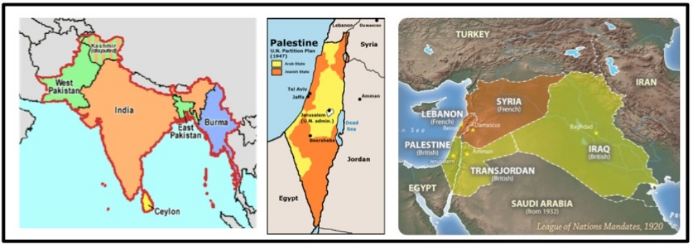 A. The redrawing of old colonial boundaries led to  population resettlements or displacement ( India/Pakistan Partition , Zionist Jewish settlement of Palestine , Division of middle east into Mandates ) .
