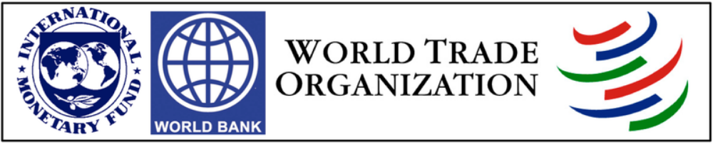 B. Changing economic institutions and regional trade agreements reflected the spread of principles and practices associated with free-market economics throughout the world. ( International Monetary Fund IMF , World Bank , World Trade Organization WTO )