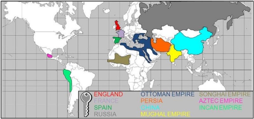 The SOL requires you to know the above  11 STATES & EMPIRES  . Note: All but the Inca & Aztec are located in the Eastern Hemisphere.