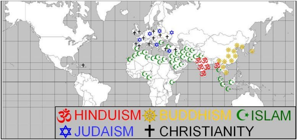 The SOL requires you to know the  5 MAJOR RELIGIONS  and their locations circa 1500.