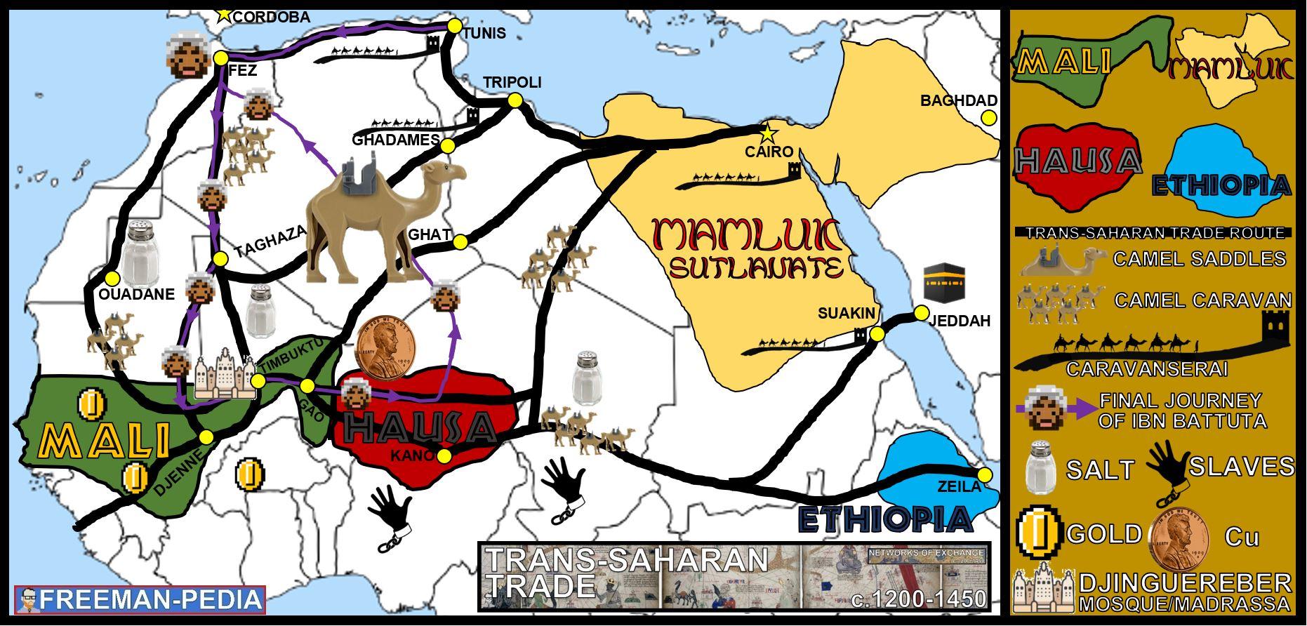 NETWORKS OF EXCHANGE TRANS SAHARAN TRADE 2.4 MAP AP WORLD HISTORY FREEMANPEDIA.JPG