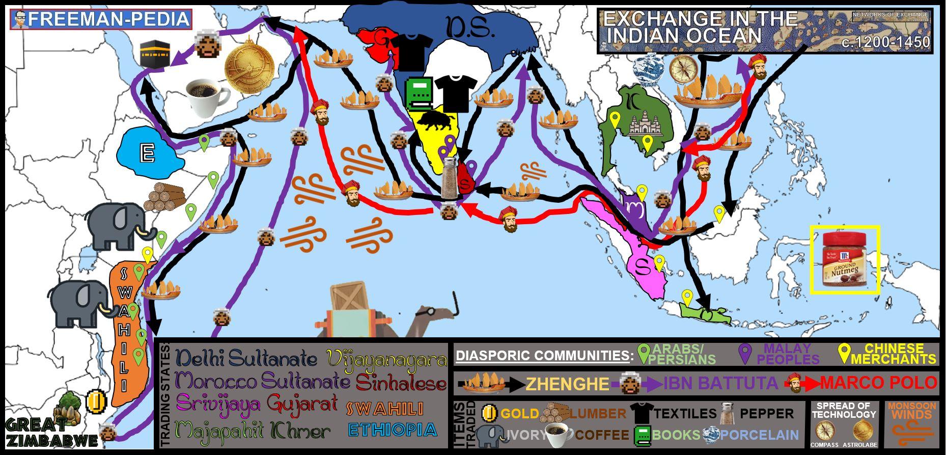 2.3 INDIAN OCEAN TRADE NETWORKS OF EXCHANGE FREEMANPEDIA MAP AP WORLD MODERN 2019.JPG